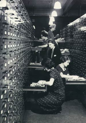 women looking up files