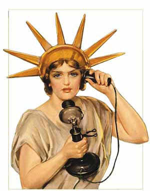 Lady Liberty on the phone